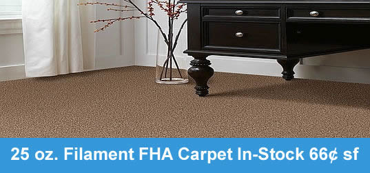 25 oz. Filament FHA Carpet In-Stock $0.61 sf - Ride it Out